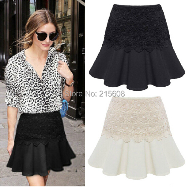 2014 summer fashion floral pattern lace short skirt casual ruffle ...