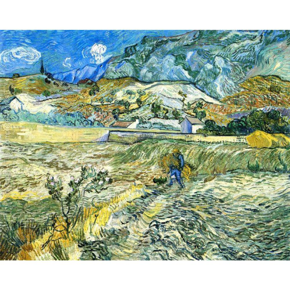 Hand Painted Oil paintings Vincent Van Gogh Canvas art Enclosed Field with Peasant High quality home decor