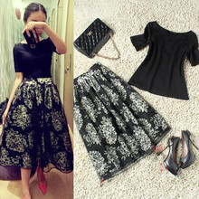 European And American Style Vintage Off Shoulder Organza High Waist Flowers print Bubble Skirt Elastic  Tops Two-piece suits