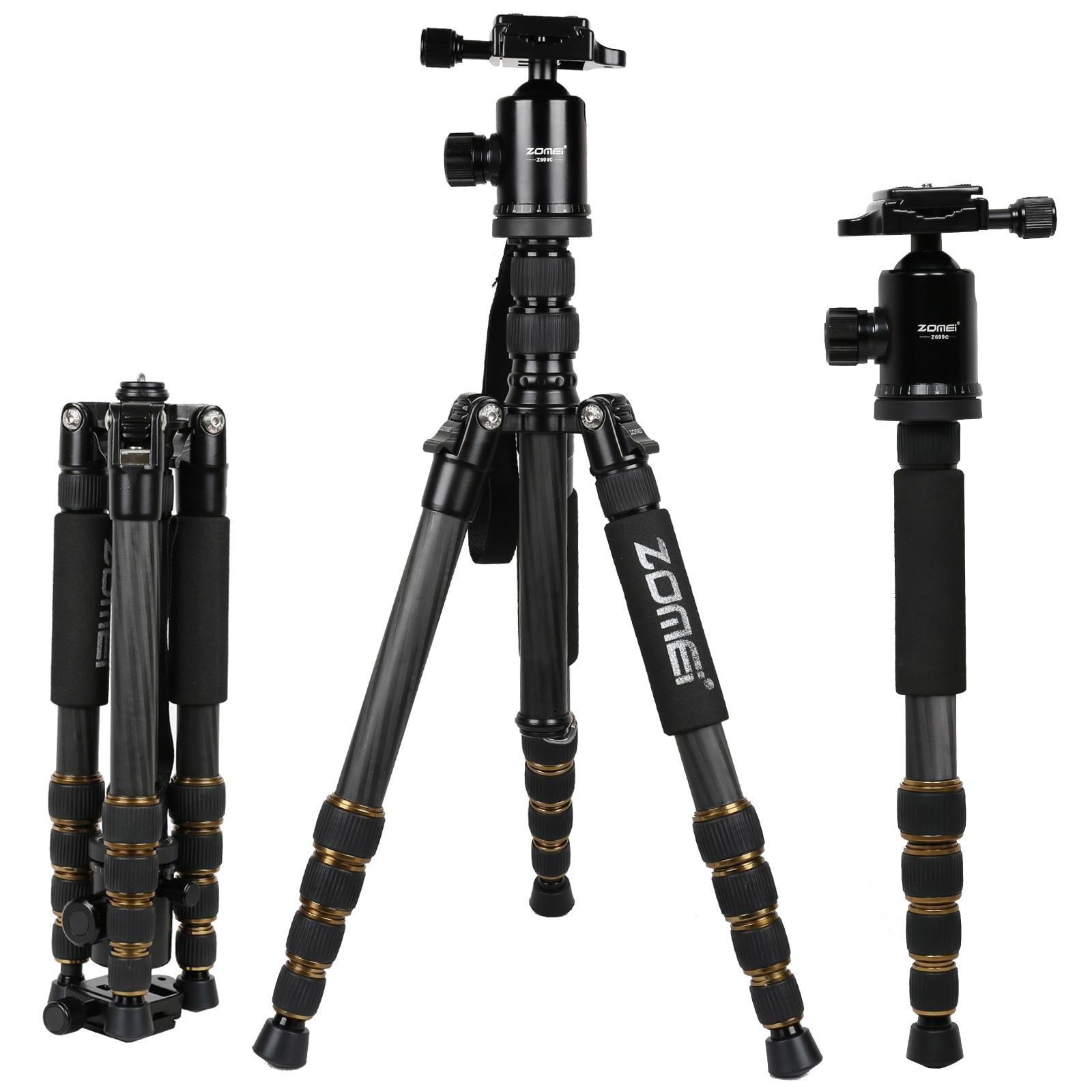 ZOMEI Z699C 탄소 섬유 휴대용 삼각대와 볼 헤드 소형 여행 모노 포드 디지털 SLR DSLR 비디오 카메라