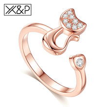X&P Rose Gold Silver Crystal Adjustable Rings for Women Men Lady Male Engagement Wedding Fashion Moon Cat Ring 2018 Jewelry Gift(China)
