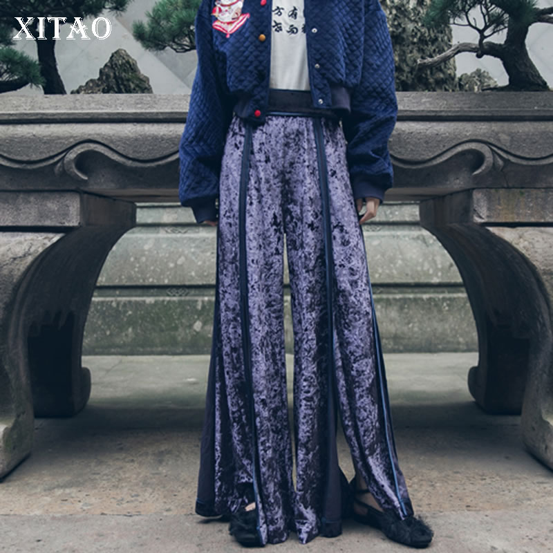 [XITAO] Loose Women Fashion New   Wide     Leg     Pants   Female Solid Color Elastic Patchwork Split Waisted Full Length   Pants   WBB1509
