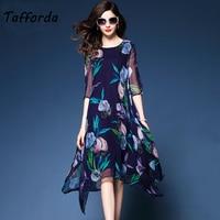Tafforda 2018 New Silk Dress Spring Summer Floral Print Women Silk Dress Loose Fashion High Quality Casual Elegant Dress Female