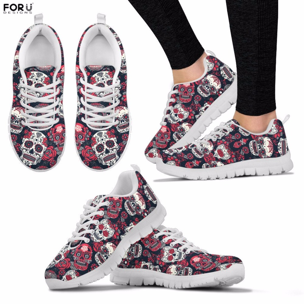 FORUDESIGNS Women Shoes Sugar Skull Pattern Sneakers for Teenager Girls Casual Spring Mesh Flats Breathable Lace-up Shoes Female instantarts casual women s flats shoes emoji face puzzle pattern ladies lace up sneakers female lightweight mess fashion flats