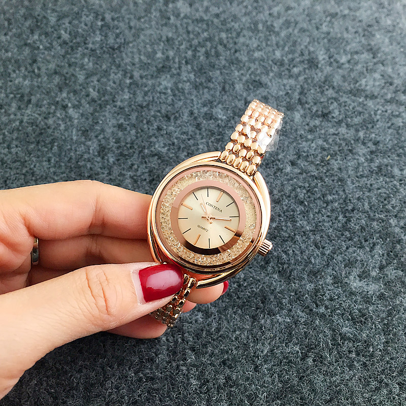 CONTENA Luxury Diamond Women's Watches Rose Gold Bracelet Watch Women Watches Bangle Ladies Watch Clock montre femme reloj mujer sinobi luxury diamond watch women watches metal mesh ultra thin women s watches ladies watch clock saat montre femme reloj mujer