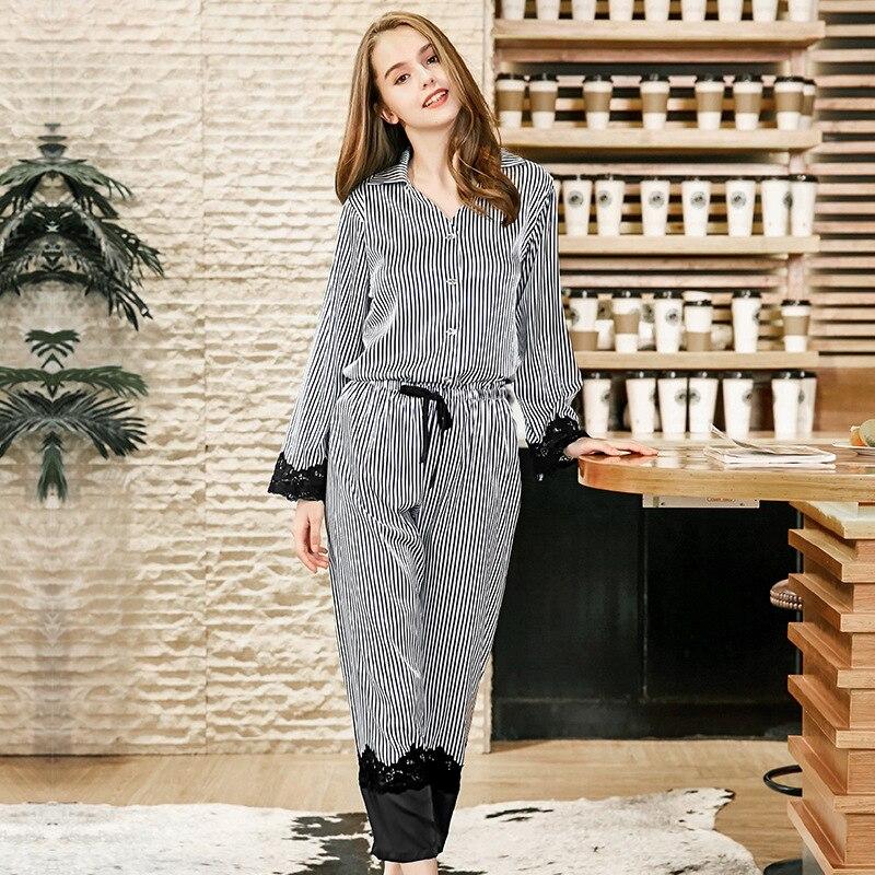 Осень зима Для женщин сексуальное ночное модный пэчворк пижамы 2018 пижамный