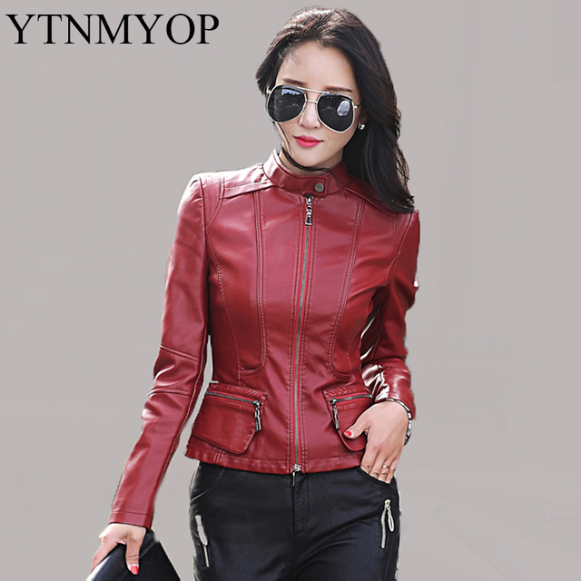 7a09c60b5e47b Women Leather Jacket 2016 New Casual Leather Suede Plus Size Mandarin Collar  Female Clothing Work To Wear Wine Red