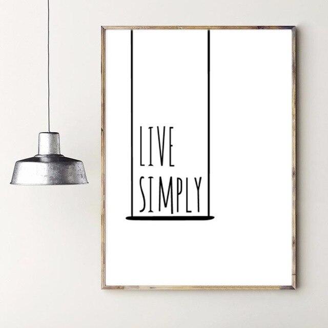 Nordic Minimalist Typography Print Inspiring Life Quotes Live Simply ...