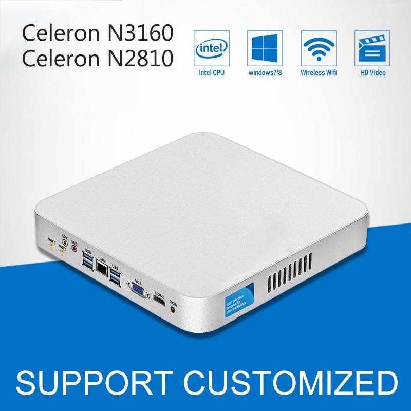 Intel Celeron CPU Mini PC N3160 Quad-Cores Mini Desktop Computer With Fanless Windows 10 DDR3 8GB Ram Office Computer