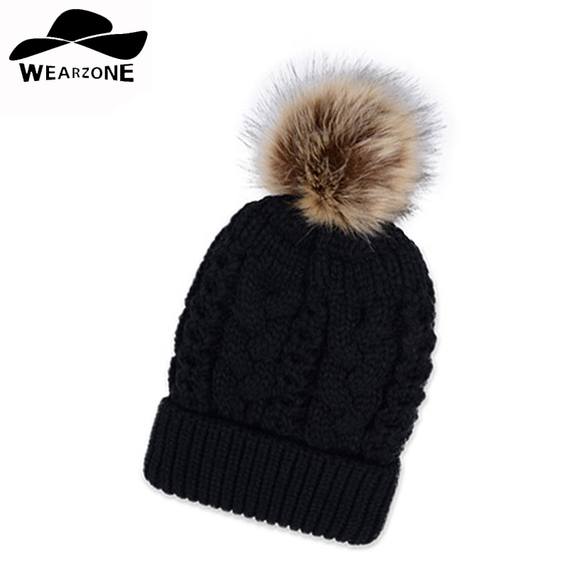 20.16 Autumn winter beanies hat unisex knitted Skullies casual cap with Faux raccoon fox fur pompom solid colors gorros cap autumn winter skullies beanies hat unisex couple knitted wool casual cap solid colors winter warmer print casual gorros cap