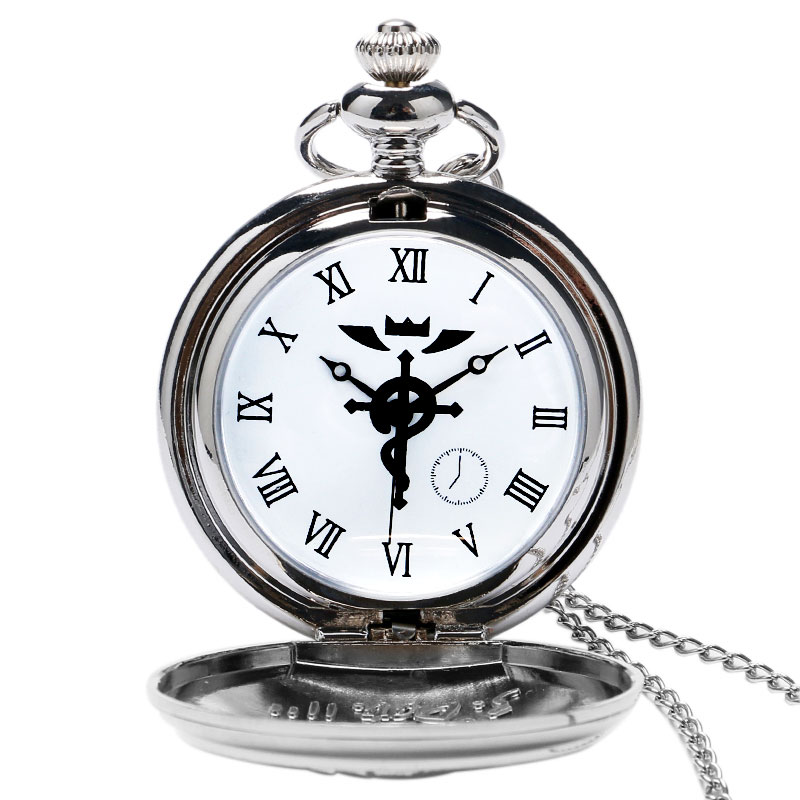 2019 Silver/Bronze Tone Fullmetal Alchemist Pocket Watch Cosplay Edward Elric Anime Design Boys Pendant Necklace Chain Best Gift
