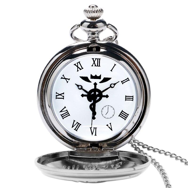 2020 Silver/Bronze Tone Fullmetal Alchemist Pocket Watch Cosplay Edward Elric Anime Design Boys Pendant Necklace Chain Best Gift