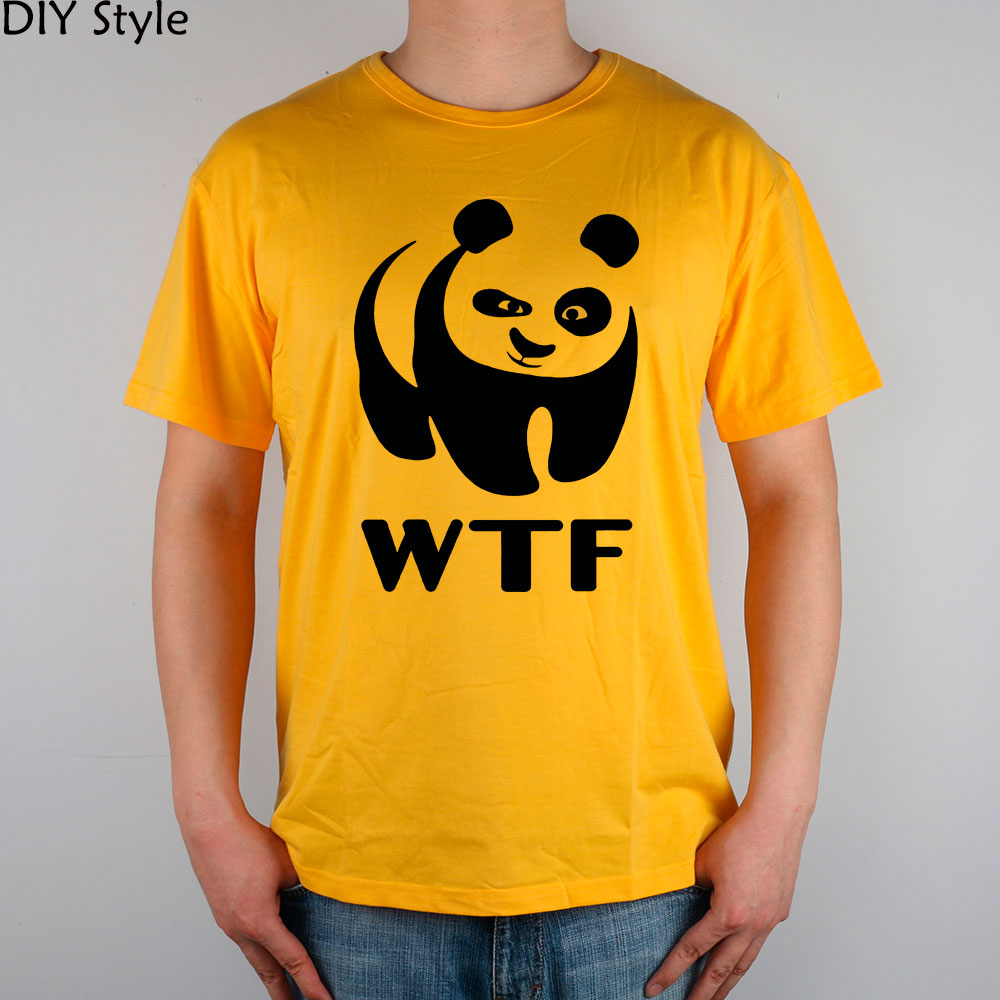 wwf WTF funny faces Panda T-shirt cotton Lycra top 8305 Fashion Brand t shirt men new DIY Style high quality(China)