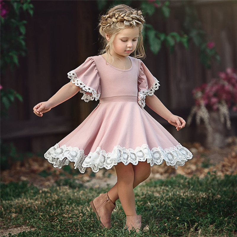 Kids Baby Girls clothes Lace Princess round neck short sleeve Geometry Toddler cotton casual newborn Party Dresses one pieces girl