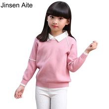 Jinsen Aite New 2017 Autumn and Winter Children Clothing Girls Sweater Kids Knitted Sweaters Outerwear Baby Girl Pullovers XL613