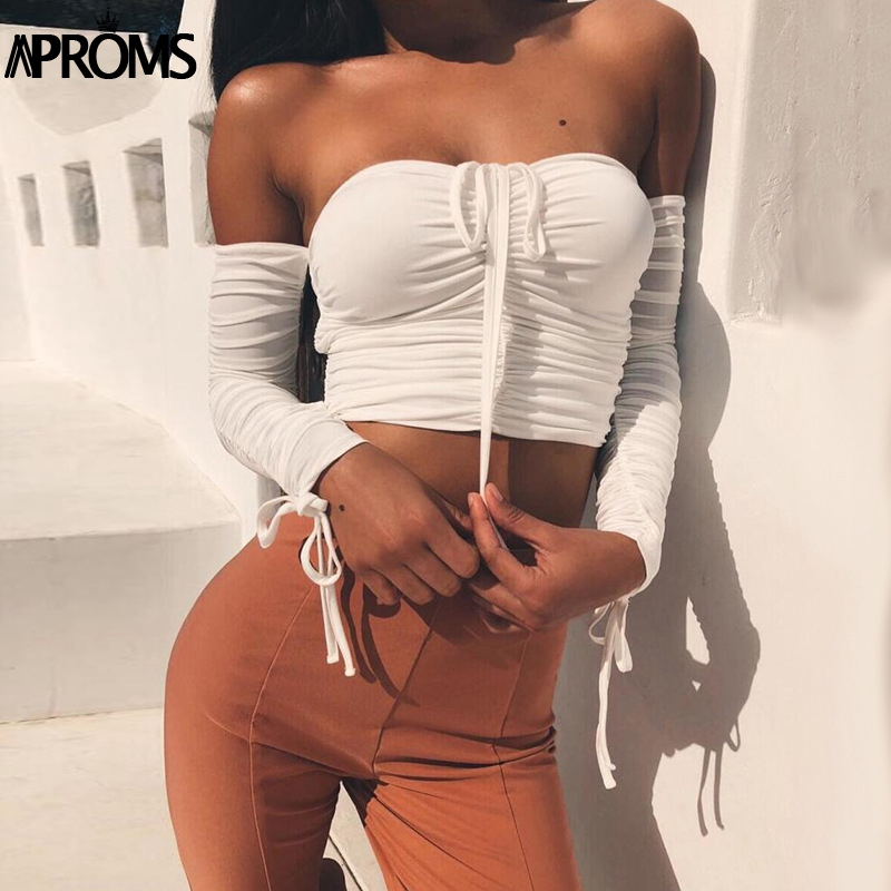 Aproms Coolest Off Shoulder Crop Tops Casual Ruched Pleated White T-shirt Women Short Sleeve Cropped Tshirt for Women Clothing 10