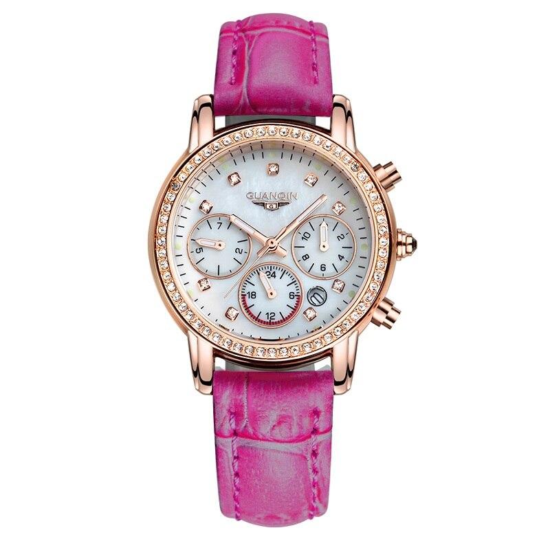 Relogio feminino kobiety moda zegarki Top marka GUANQIN luksusowy zegarek kwarcowy kobiety kalendarz 24 godzin Luminous koreański zegarek dla pań w Zegarki damskie od Zegarki na  Grupa 1