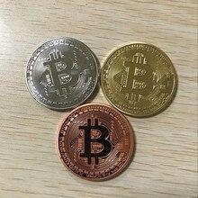 Образец заказа Классическая валюта Интернета FCCB Биткоин латунный Немагнитный бейдж с настоящим золотым и серебряным покрытием 40 мм Монета ...