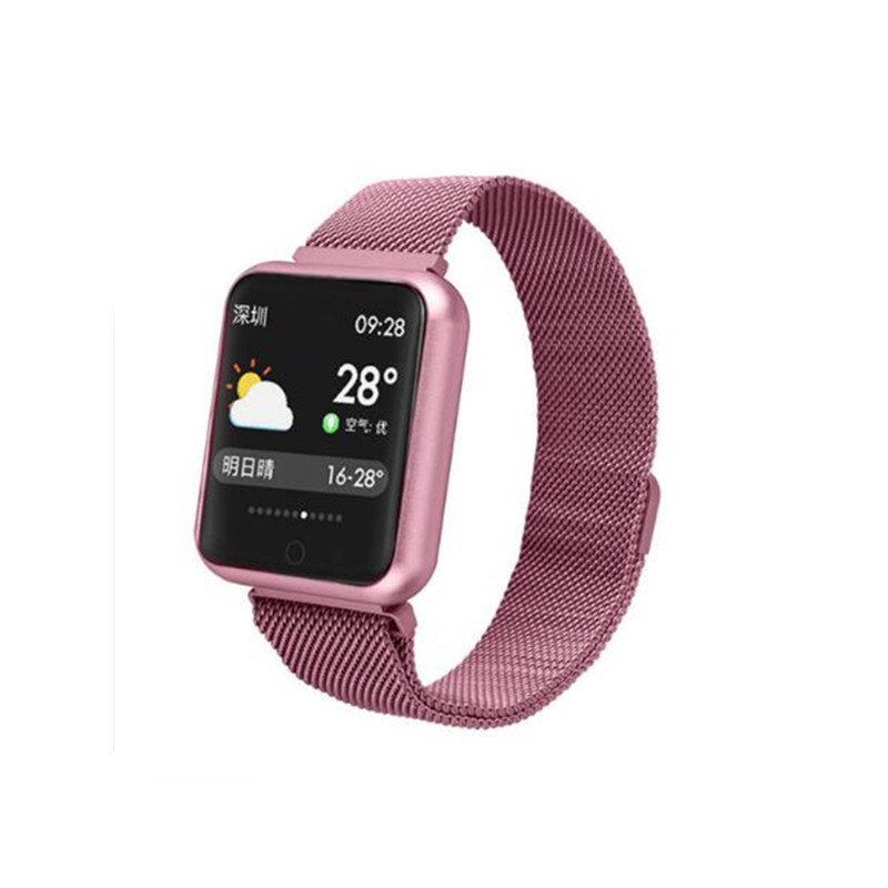 Fitness band P68 smart bracelet IP68 smart band with heart rate monitor sleep monitor steel strap