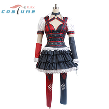 Batman: Arkham Knight Harley Quinn Uniform Oversleeves Shirt Skirt Pants Movie Halloween Cosplay Costumes For Women