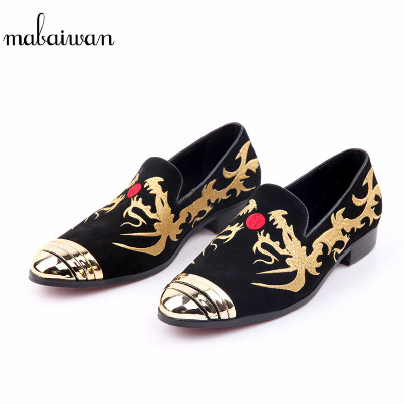 Mabaiwan Casual Men Shoes Loafers Gold Embroidery Slipper Black Suede Wedding Dress Shoes Men's Slip-On Handmade leather Flats top brand high quality genuine leather casual men shoes cow suede comfortable loafers soft breathable shoes men flats warm