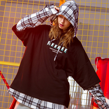 Fashion Harajuku Style Plaid Splice Fake Two Piece Womens Hoodies 2019 New Arrival Spring Korean Sweatshirt Women Hoodie Top