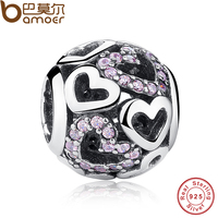 Authentic 925 Sterling Silver Falling In Love Fancy Pink CZ Charm Fit Bracelet Necklace Jewelry Accessories