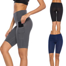Nieuwe Hoge kwaliteit Dames Stiksels Zijzakken Hip Stretch Running Fitness Yoga Shorts Gym tops Fitness kleding ropa mujer 2019(China)