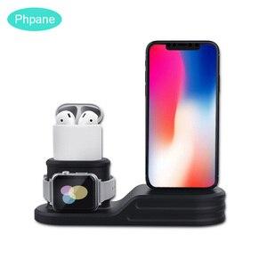 Image 1 - 3 en 1 chargeur Station daccueil chargeur de Charge support de quai sans fil debout pour Airpods Iphone Apple montre socle de Charge
