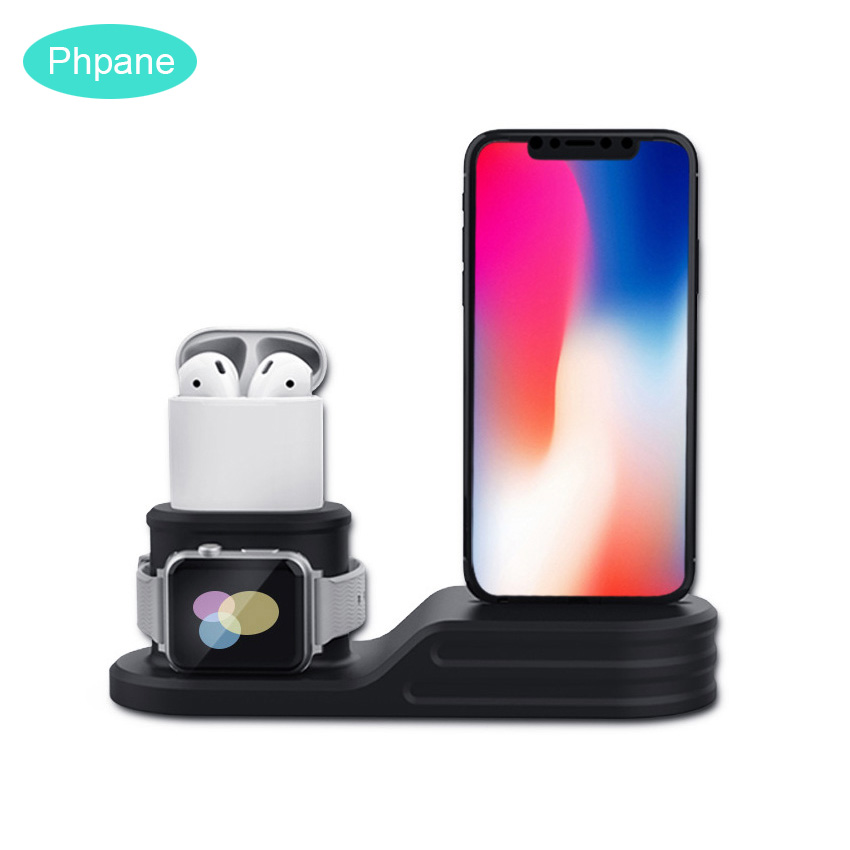 3 In 1 Charging Docking Station Charging Charger Standing Wireless Dock Holder For Airpods Iphone Apple Watch Charge Stand Base