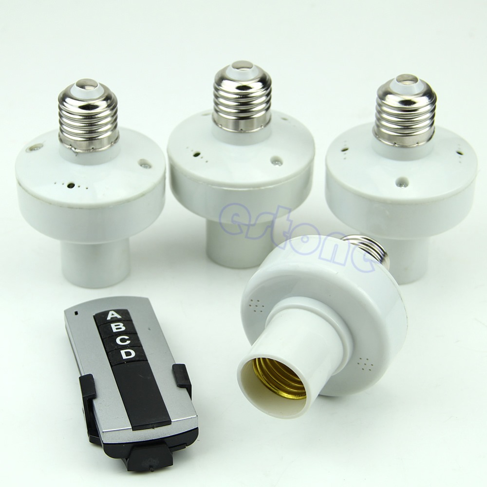4Pcs Wireless Remote Control Light E27 Lamp Bulb Holder Cap Socket Switch New H02