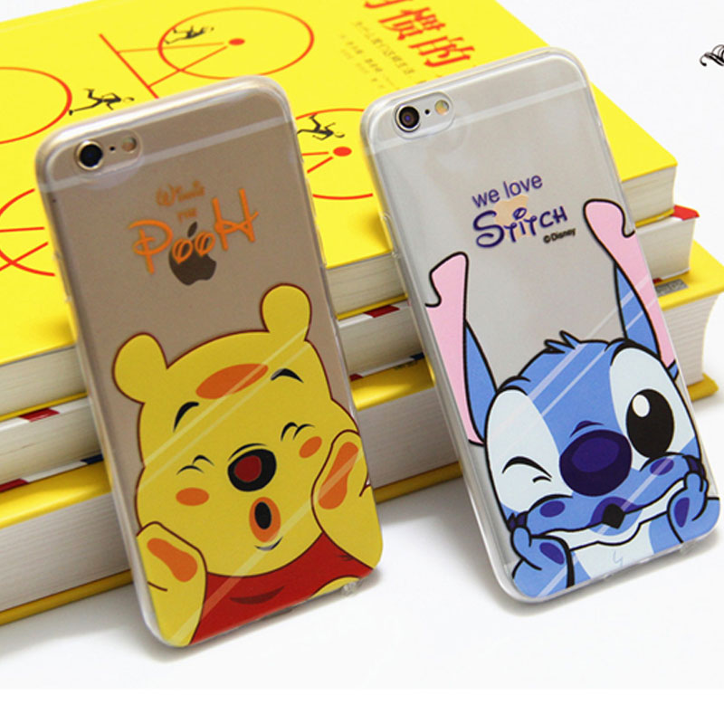 the latest 10a0e eff0a Cartoon cute Daisy stitch pooh Soft Clear Silicon Case For iphone 7 7plus 6  6s 6plus 5 5s 5c SE originality Transparent case on Aliexpress.com | ...
