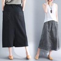 Artistic Vintage Elastic Waist Women Long Skirt Loose Mori Girl Midi Skirt 2018 Spring And Summer