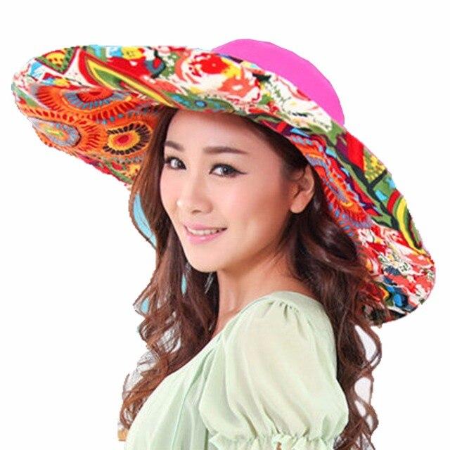 3bce7a24e87 New Women Folding Big Floopy Brim Sun Protective Reversible Beach Hat Visor  UPF 50+ summer hat