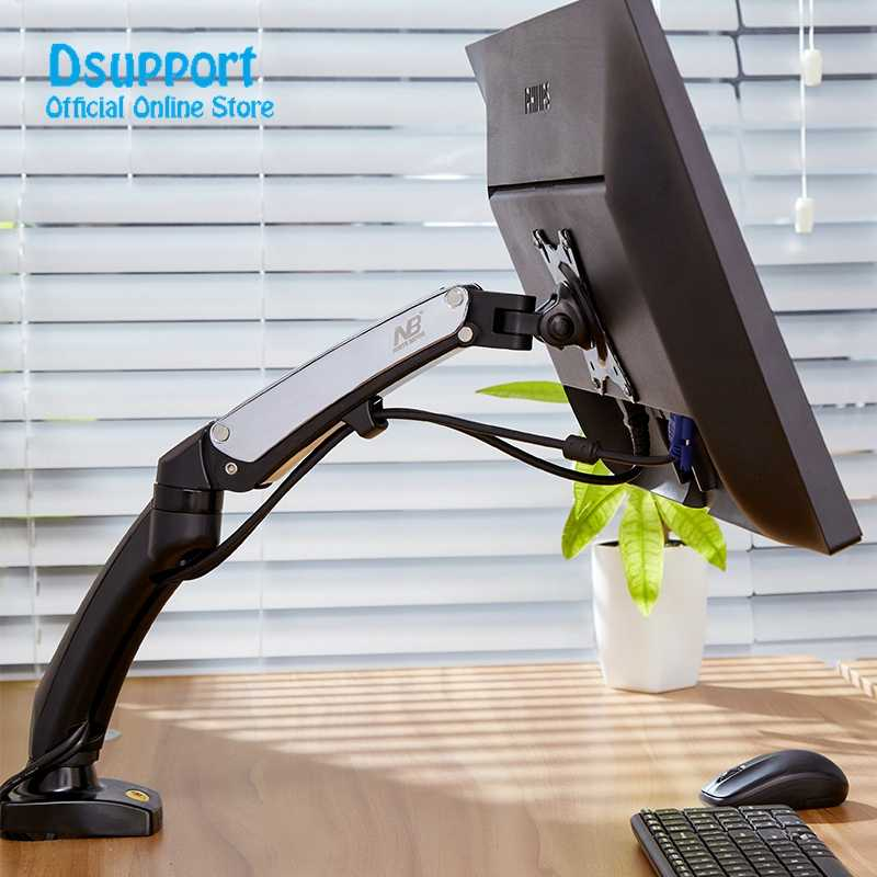 "NB F100 360 Degree Gas Spring 17""-27"" Monitor Holder Arm Desktop Clamping Or Grommet With 2 USB interface"