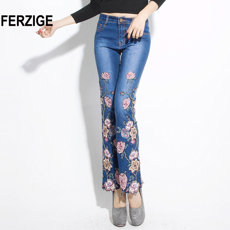FERZIGE 2018 Women Jeans with Embroidery High Waist Luxury Denim Pants Manual Embroidered Bell Bottom Ruffles Open Stretch Beads