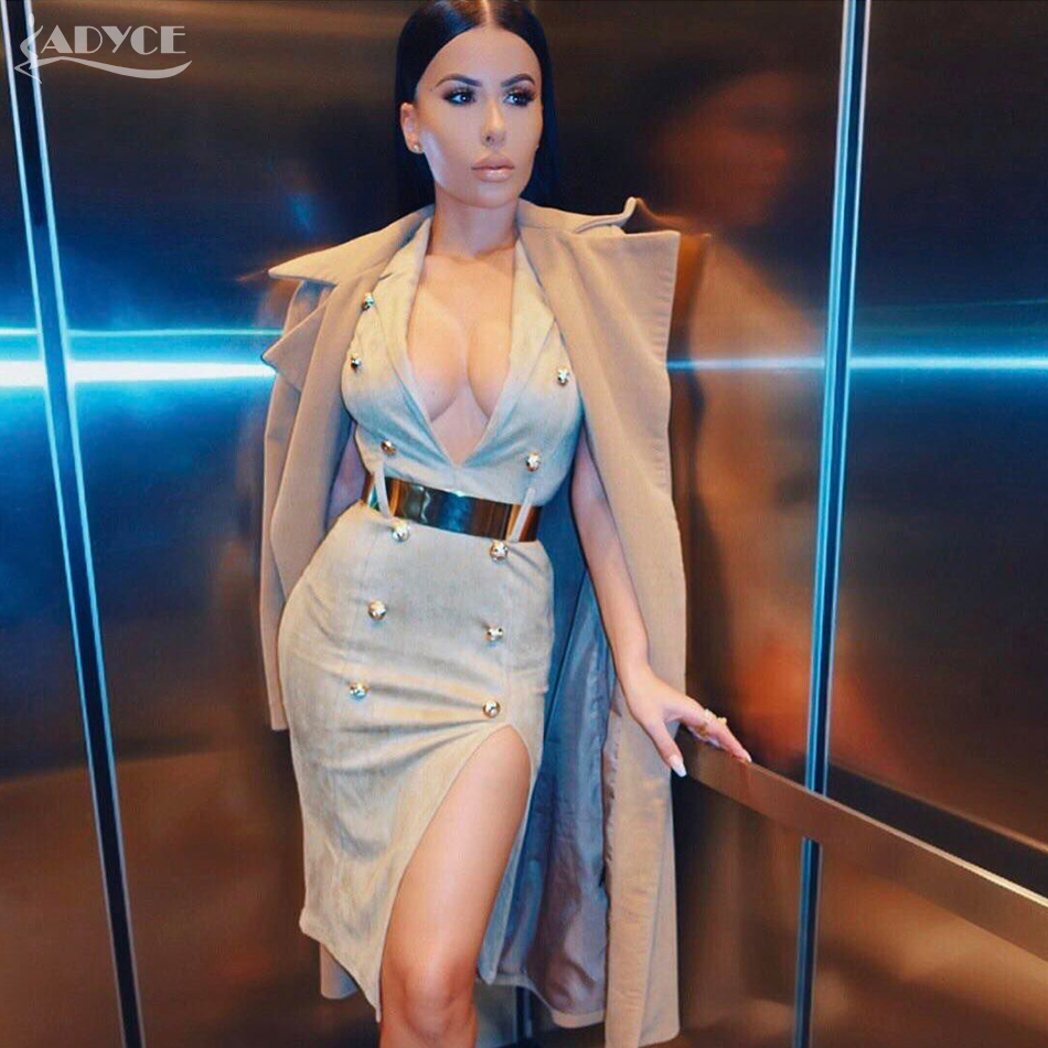 V Moulante Clouté En Royal grey Celebrity 2018 Bouton Party Col Robes Genou Longueur Sexy Summer Adyce white New Apricot Profond Femme 461cA1Iq