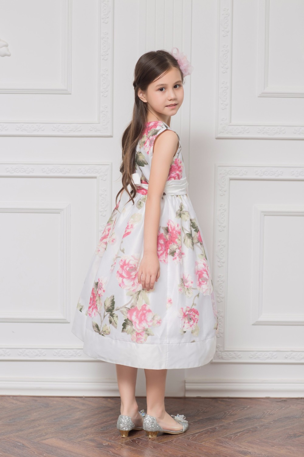 Sweet Retro Floral A-line   Flower     Girls     Dresses   for Wedding Beading Pleated Bow Sash First Communion Prom   Dresses   for   Girls