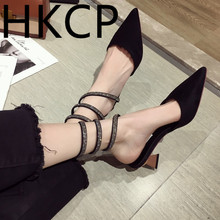 HKCP Fashion 2019 summer water drills snake twine wrap sandals female fairy wind all-in-one with thick heel C060
