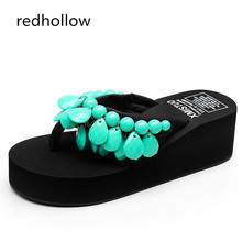 Woman Beach Flip Flops Summer Sandals Bohemia Slippers Platform Sandals Fashion High Heels Shoes Female Home Slippers Size 35-41 woman slippers beach flip flops summer sandals wedges bohemia slippers ladies platform sandals high heels shoes female