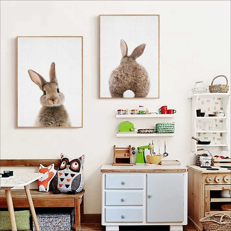 バニーウサギ尾キャンバス保育壁アート動物ポスターやプリント北欧ウッドランド画像ベビーキッズルームホーム装飾