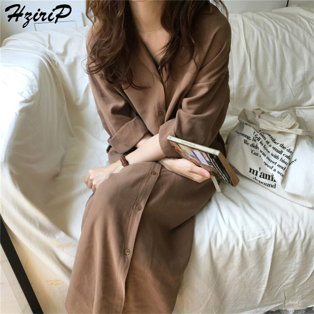 HziriP 2019 été chemise + ceintures femmes élégant coton à manches longues col rabattu bureau dames fête longues chemises Robe Femme