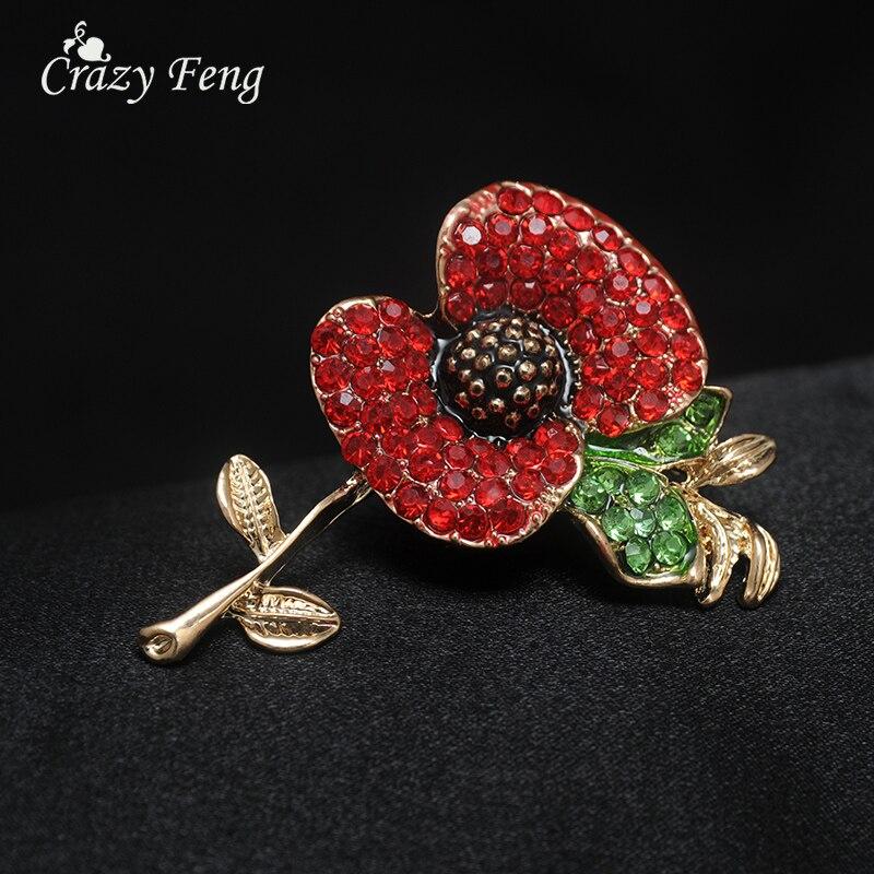Moda de oro de color rojo Rhinestone flor grande bufanda broches Pins joyas  de cristal barato accesorios Hijab joyería ramillete 185e1a8d9a9