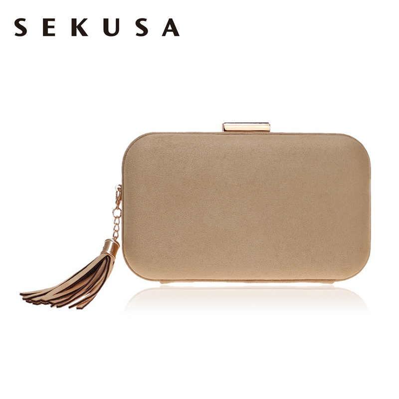357b0761552e SEKUSA кисточкой модные женские туфли вечерние сумки бархат мягкий материал  Смешанные Цвет маленький клатч кошелек плечо