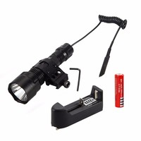 1000 Lm XML T6 LED Tactical Flashlight Hunting Torch Light Rifle Lights Picatinny Weaver Mount +Charger+18650 Battery