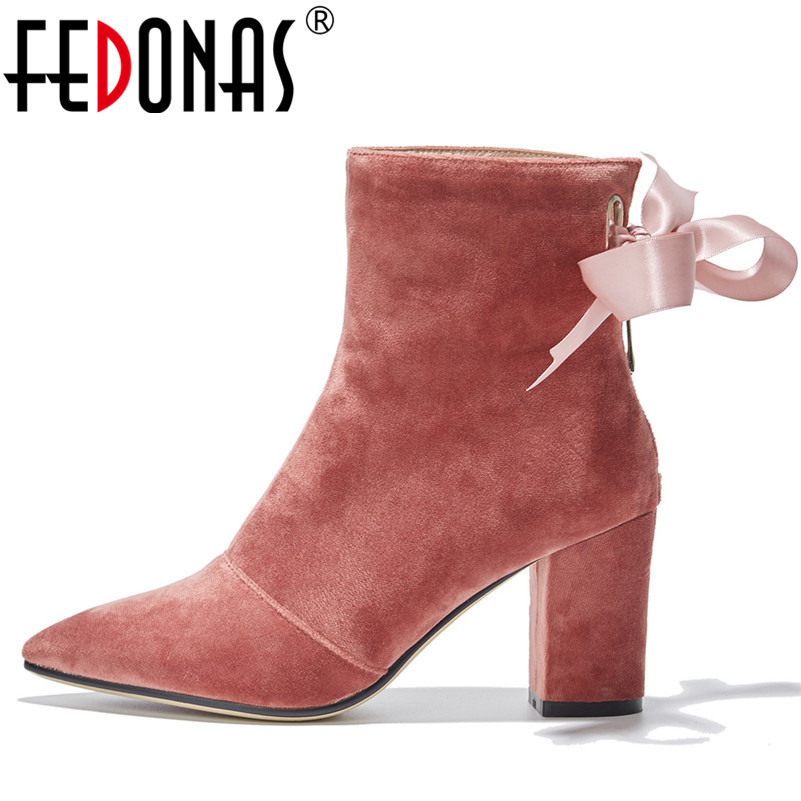 FEDONAS Luxury Retro Women High Heels Warm Winter Ankle Boots Velvet Pointed Toe Butterfly-knot Wedding Party Shoes Woman Pumps fedonas women pumps 10 5cm thin high heel summer velvet butterfly knot wedding party shoes woman fashion elegant buckles shoes