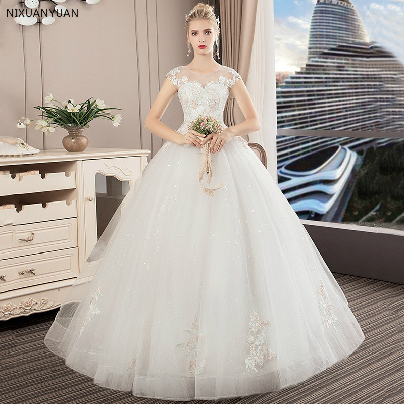 2019 New Wedding Dress Elegant Ball Gown Off The Shoulder Classic Embroidery Appliques Vestido De Noiva Wedding Dresses