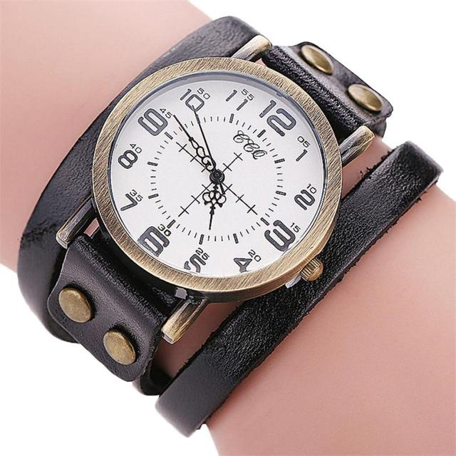 Luxury Brand Watch Vintage Cow PU Leather Bracelet Watch Men Women Watches Quart