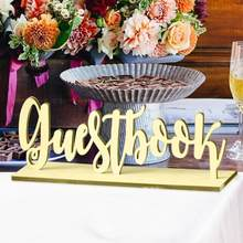 1pc Wooden Guestbook Sign Wedding Table Freestanding Name Sign Stand Romantic Marriage Party Decoration Home DIY Craft Gift(China)