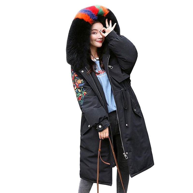 90% White Duck   Down   Jacket Women Winter 2018 Casual Embroidery Real Fur Collar Plus Size Female Thick Warm   Down     Coat   Long Parka